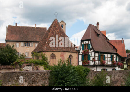 Kaysersberg, an historic town on the Alsace Wine Route, eastern France, is the birthplace of Albert Schweizer - Stock Image