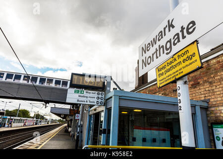 Newark Northgate train station, Newark Northgate UK, Newark Northgate Lincolnshire, Newark Northgate sign, Newark - Stock Image
