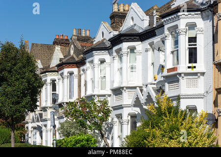 Victorian terraced houses, Norroy Road, Putney, London Borough of Wandsworth, Greater London, England, United Kingdom - Stock Image