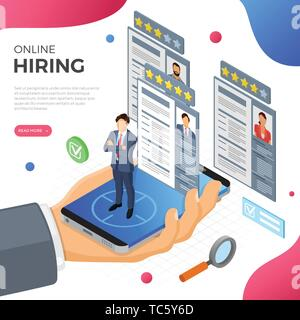Online Isometric Employment and Hiring Concept - Stock Image