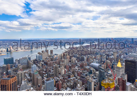 New York city, USA, urban skyline with the Hudson River crossing the urban area. High angle view - Stock Image