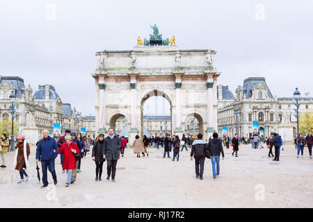 PARIS, FRANCE - NOVEMBER 10, 2018 - View of famous Arc de Triomphe du Carrousel against the background of the Louvre Museum in Paris - Stock Image