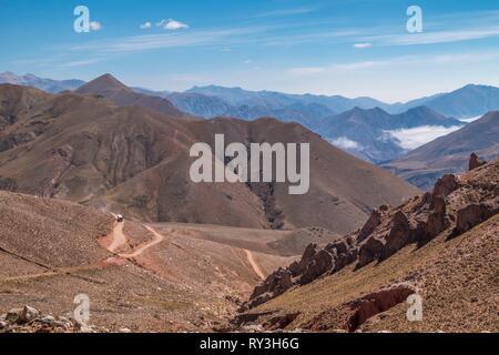 Argentina, Jujuy province, Quebrada de Humahuaca listed as World Heritage of UNESCO, track RP13 to Iruya - Stock Image