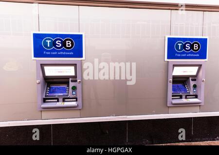 TSB cash machines ATM machine trustee savings bank telling machines on high street UK England - Stock Image