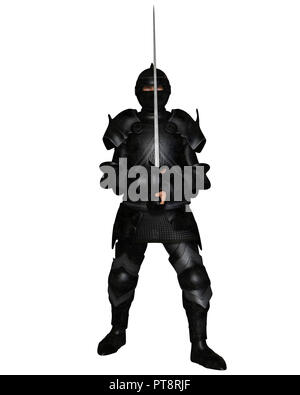Black Knight in Medieval Armour - Stock Image