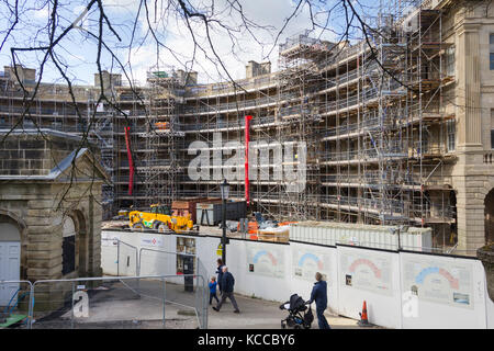 Restoration work underway at The Crescent, Buxton, Derbyshire. The original building, listed Grade 1, dates from - Stock Image