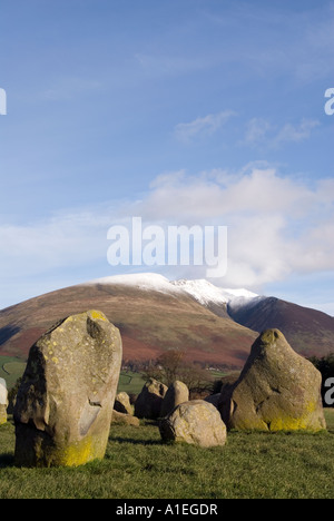 Castlerigg Stone Circle and Blanecathra saddle back mountain peak Lake District National Park Cumbria for sale UK - Stock Image