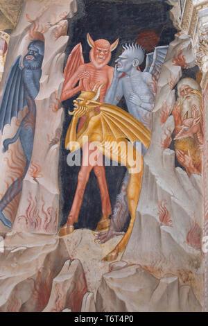 Devils, Descent into Limbo, detail, Andrea di Bonaiuto, 1365-1367,  Chapter House, Cappellone degli Spagnoli, Spanish Chapel, Apsidal Chapel,  Basilic - Stock Image