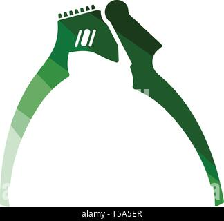 Garlic press icon. Flat color design. Vector illustration. - Stock Image