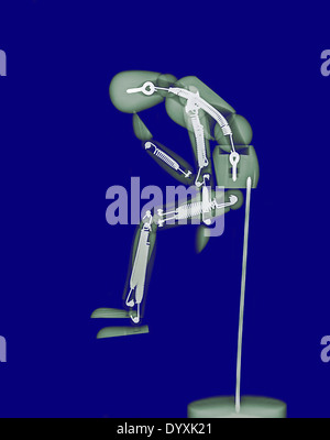 The Thinker (or thinking man - Homo sapiens) mannequin under x-ray - Stock Image