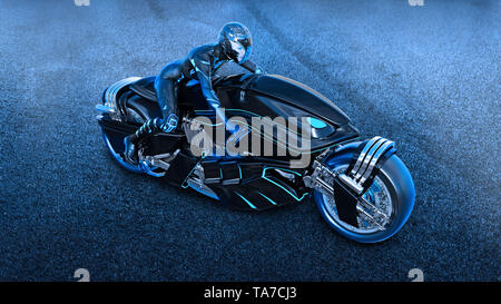 Biker girl with helmet riding a sci-fi bike, woman on black futuristic motorcycle in night city street, top view, 3D rendering - Stock Image