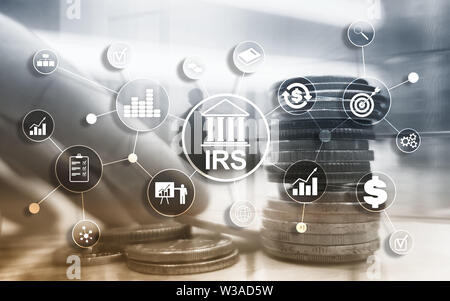 Internal Revenue Service. IRS Ministry of Finance. Abstract Business background. - Stock Image
