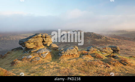 View from Honeybags tor on Dartmoor with passing mist - Stock Image