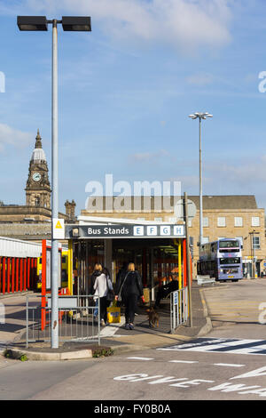 Passengers at Bolton Moor Lane bus station.  The station will close when a new public transport interchange opens - Stock Image