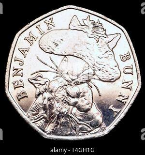 British commemorative 50p coin. Beatrix Potter Benjamin Bunny (2017) - Stock Image