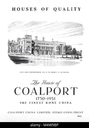 Coalport finest bone china advert, advertising in Country Life magazine UK 1951 - Stock Image