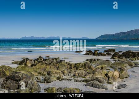 Beach at Hov Hestegård, Lofoten islands, Norway. - Stock Image