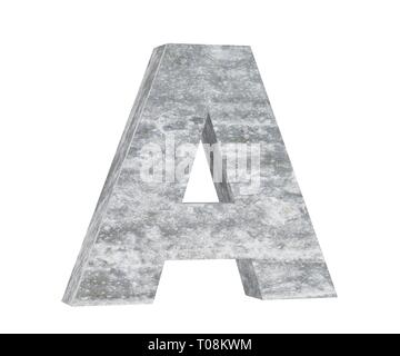 Concrete Capital Letter - A isolated on white background. 3D render Illustration - Stock Image