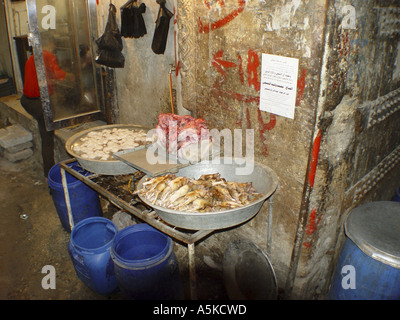 Meat on the market (suq) in Aleppo - Stock Image