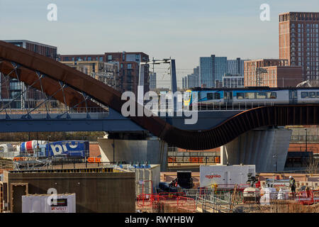 Transpennine Express class 185 crossing the new bridge Ordsall Chord in Salford - Stock Image