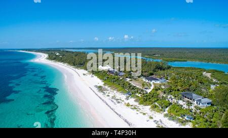 Aerial view, long sandy beach in the south of Eleuthera, Bahamas - Stock Image