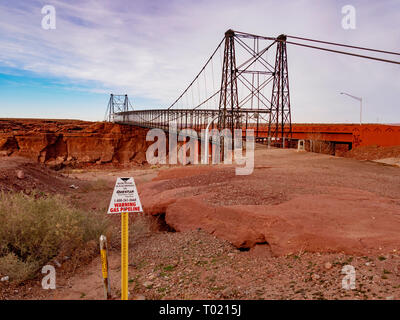 Historic Tanner's Crossing Bridge over the Little Colorado River, Cameron, Arizona. - Stock Image