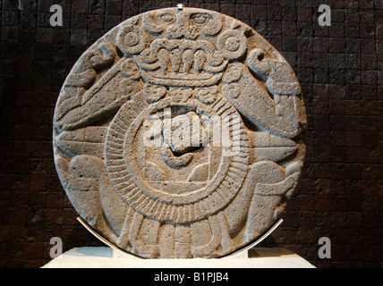 Stone Wheel Disk Aztec Pre Columbian Art National Museum of Anthropology Chapultepec Park Mexico City Mexico - Stock Image