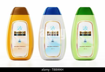 Generic shampoo bottle and label designs isolated on white background. 3D illustration. - Stock Image