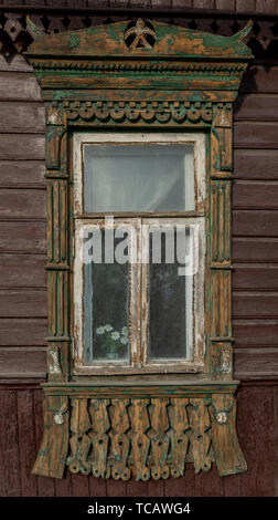 Traditional  gingerbread window frames, Ivanova, Russia - Stock Image