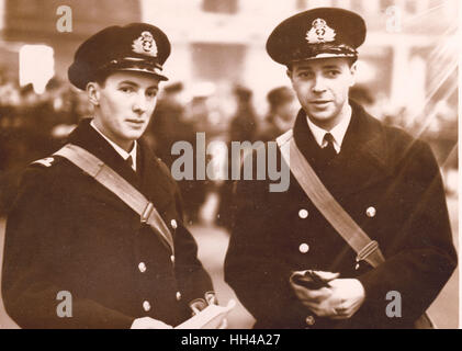 Midshipman Robert W Don of HMS Exeter and Archibald Cameron of HMS Exeter Received DSC for gallantry in the Graf - Stock Image