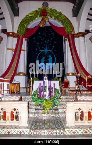 interior image from  Church of Our Lady of the Assumption of Marinilla in Medellín, Colombia - Stock Image