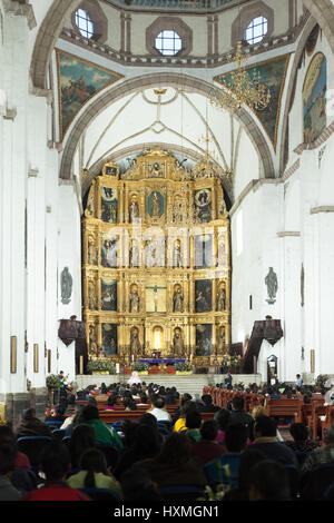 inside view of a catholic church, Mexico City. December 2016. - Stock Image