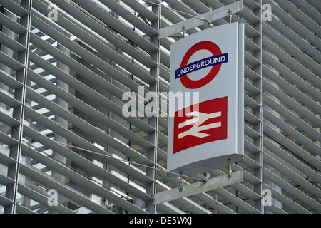 Underground and train station sing, London - Stock Image