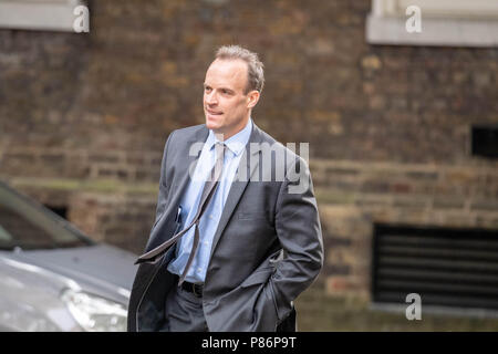 London 10th July 2018, ,Dominic Raab new Brexit secretary arrives at Cabinet meeting at 10 Downing Street, London Credit Ian Davidson/Alamy Live News - Stock Image