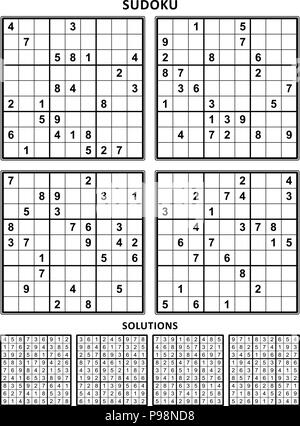 Four sudoku puzzles of comfortable (easy, yet not very easy) level, on A4 or Letter sized page with margins, suitable for large print books. Set 14. - Stock Image