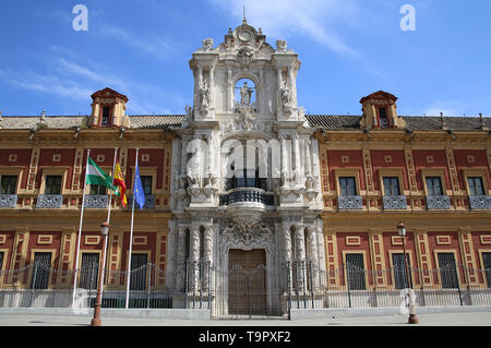 Spain. Andalusia. Seville. Palace of San Telmo. Barroque.  Main facade with Churrigueresque entrance, 1754 by Figueroa family. - Stock Image