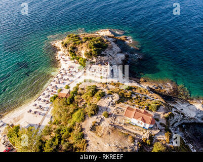 Aerial view of Thassos, Greece island in the Aegean Sea - Stock Image