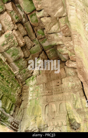 Stone vaulted ceiling roof at the Unesco World Heritage site of Ankor Thom, Siem Reap, Cambodia - Stock Image