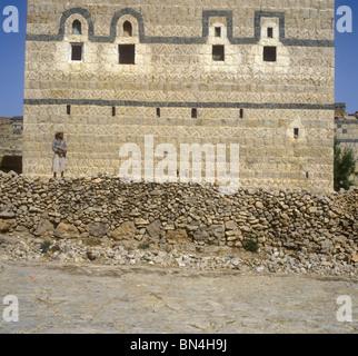 Decorated house Huth Yemen - Stock Image