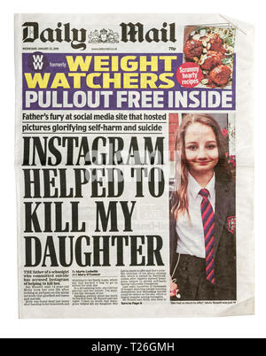 The front page of the Daily Mail from 23 January 2019 with the headline 'Instagram Helped to Kill my Daughter' - Stock Image