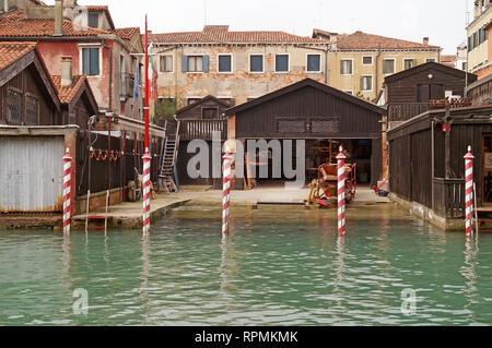 Shipyard for traditional Gondolas in Venice. - Stock Image
