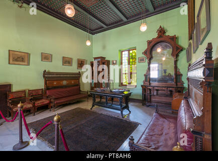 Historical Manial Palace of Prince Mohammed Ali. Ceremonies Room with vintage furniture, Cairo, Egypt - Open for the public - Stock Image
