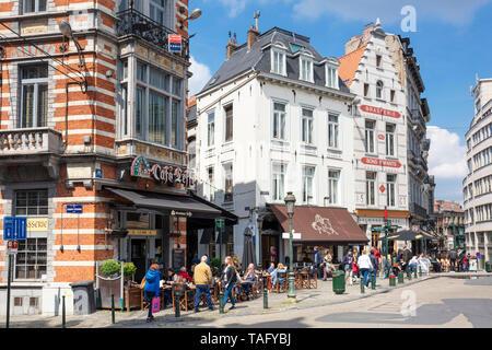 Famous Café Leffe Place du Grand Sablon Brussels Belgium Eu Europe - Stock Image