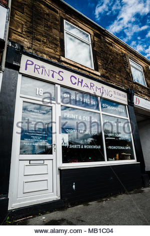 Prints Charming a small unusual named print & design shop on the High Street using a play on words as its title in Holmewood, Chesterfield England UK - Stock Image