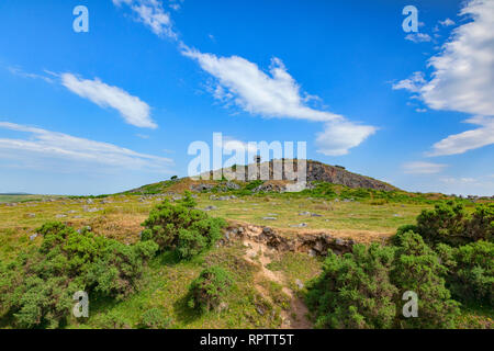 The old Cheesewring quarry face of Stowe's Hill, Bodmin Moor, Cornwall, on a beautiful summer day. - Stock Image
