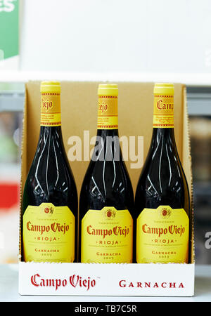 Bottles of Campo Viejo wine on shelf - Stock Image