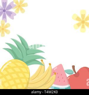 delicious tasty food fruits cartoon vector illustration graphic design - Stock Image