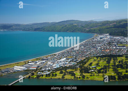 Hutt River and Petone, Wellington, North Island, New Zealand - aerial - Stock Image