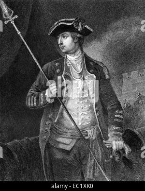 David Wooster (1710-1777) on engraving from 1835.  American general. - Stock Image