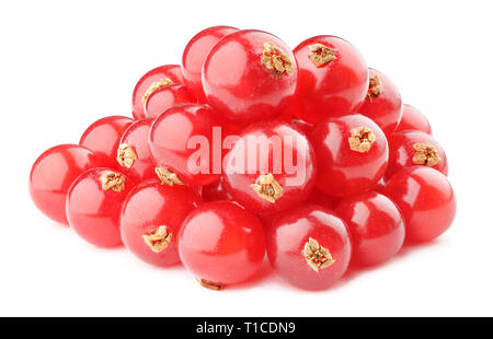 Isolated berries. Pile of red currants isolated on white background - Stock Image
